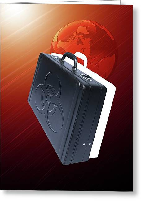 Briefcase With Biohazard Symbol Greeting Card