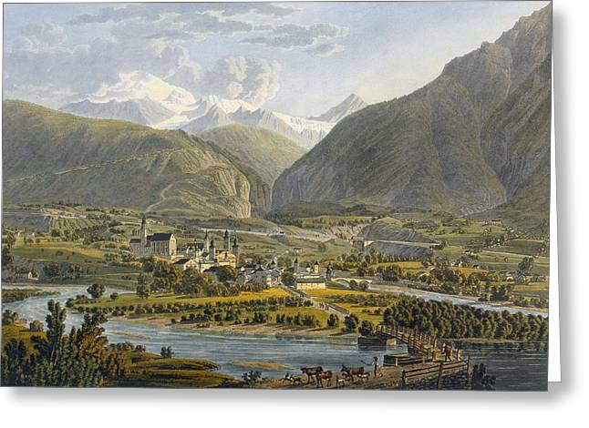 Brig On The Rhone, Bernese Alps Greeting Card by Swiss School