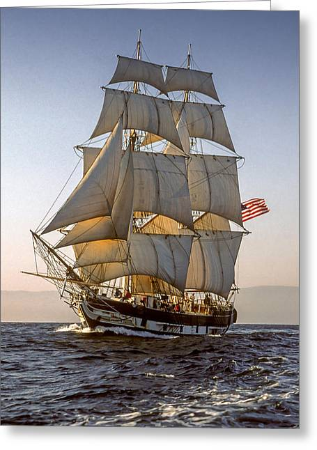 Brig Pilgrim Off Santa Barbara Greeting Card