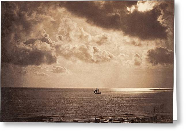 Brig Upon The Water Greeting Card by Gustave Le Gray