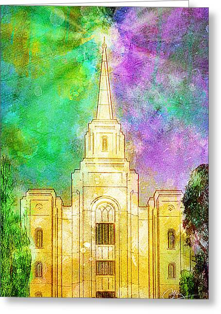 Greeting Card featuring the painting The Heavens Were Opened by Greg Collins