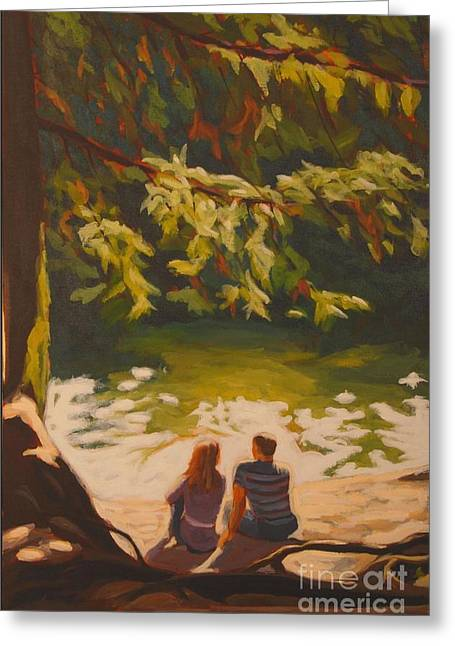 Greeting Card featuring the painting Bright Angel Moment by Janet McDonald