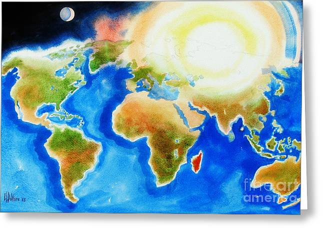 Bright Blue World Map In Watercolor With Sunshine And Moon  Greeting Card by Kip DeVore