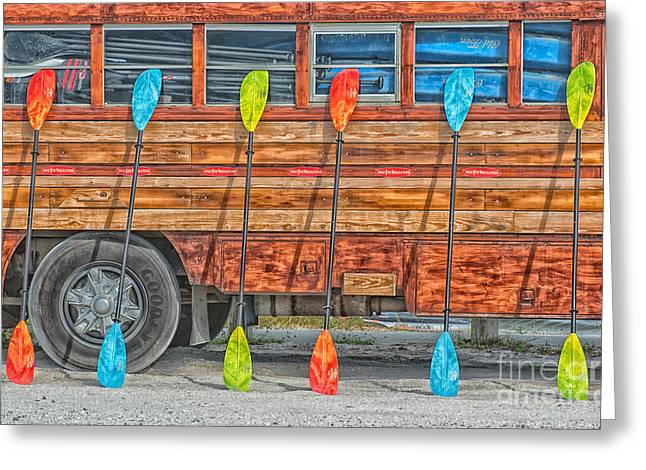 Bright Colored Paddles And Vintage Woodie Surf Bus - Florida - Hdr Style Greeting Card by Ian Monk