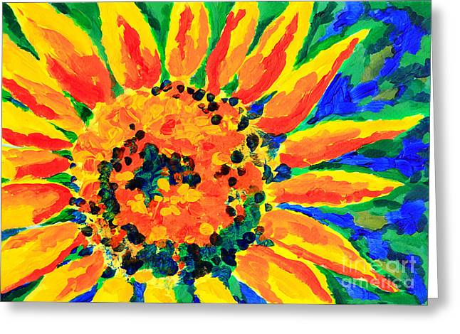 Bright Colorful Single Sunflower Acrylic Painting Greeting Card by Beverly Claire Kaiya