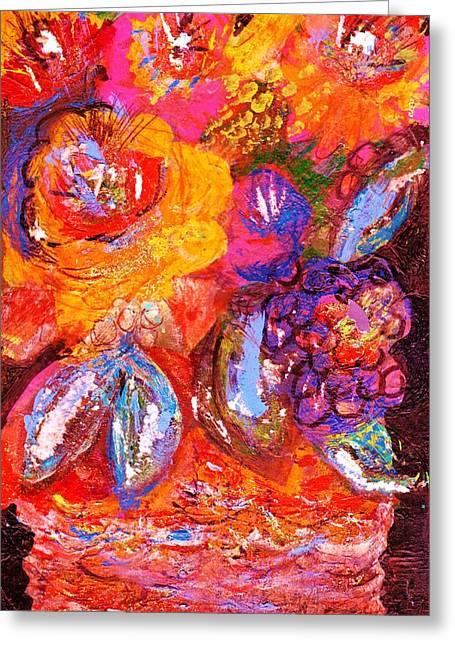 Bright Fantasy Floral Greeting Card by Anne-Elizabeth Whiteway
