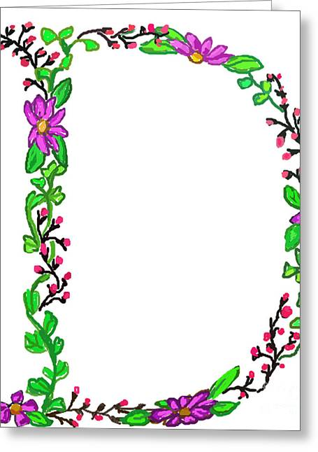 Bright Fun Colorful Hand Drawn Monogram D Greeting Card