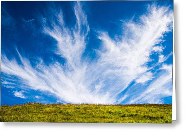 Bright Green Meadow And Deep Blue Sky Greeting Card by Matthias Hauser