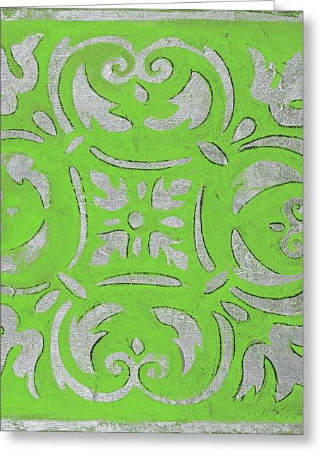 Bright Green Mosaic Greeting Card