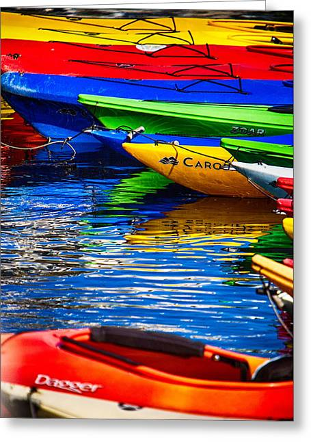 Bright Kayak Reflections Greeting Card by Jeff Folger