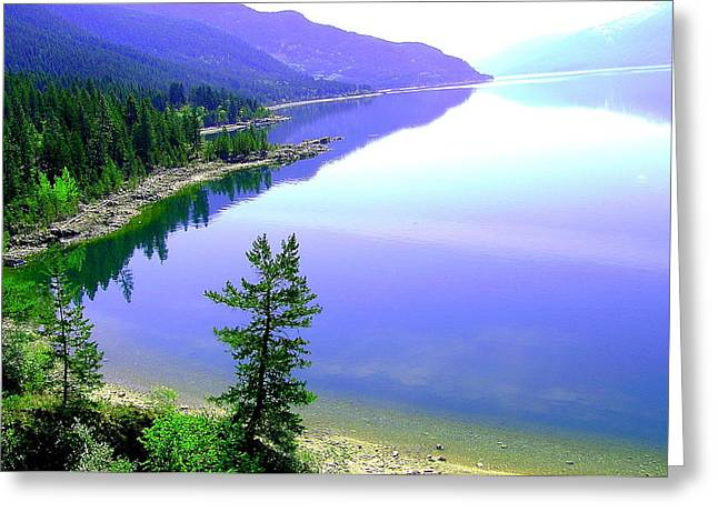 Bright Kootenay Lake Greeting Card by Mavis Reid Nugent