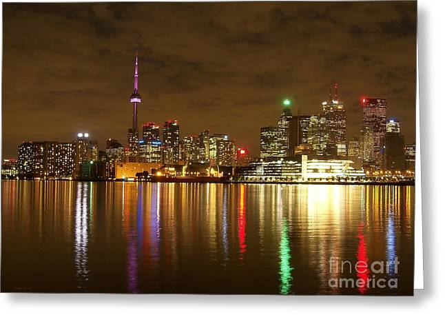 Bright Lights Big City Greeting Card by Lingfai Leung