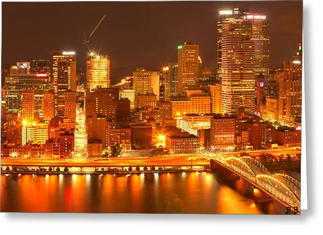 Bright Lights In Pittsburgh - Panorama Greeting Card by Adam Jewell