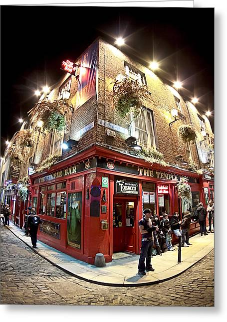 Greeting Card featuring the photograph Bright Lights Of Temple Bar In Dublin Ireland by Mark E Tisdale