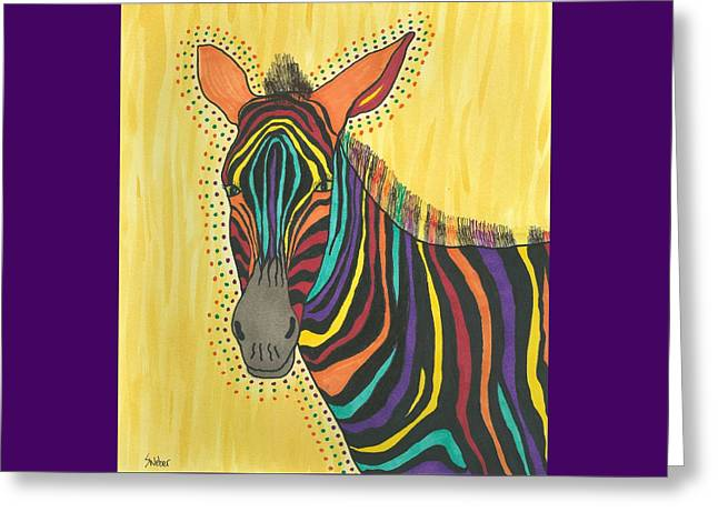 Greeting Card featuring the painting Bright Lite African Zebra  by Susie Weber
