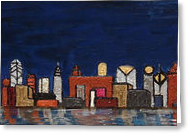 Bright Moon Over The Hudson Greeting Card
