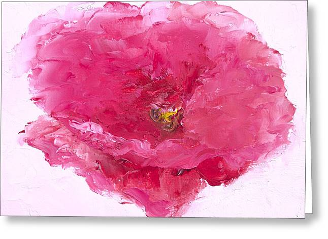 Bright Pink Poppy Greeting Card by Jan Matson