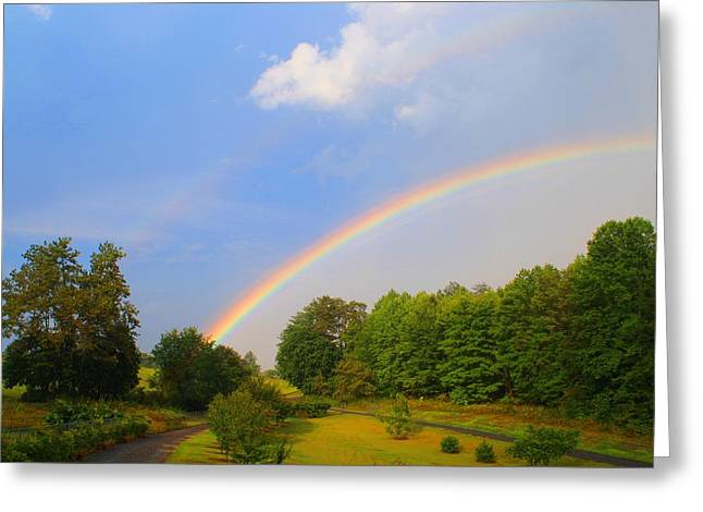 Greeting Card featuring the photograph Bright Rainbow by Kathryn Meyer