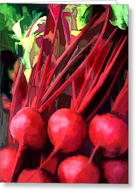 Bright Red Beets Greeting Card by Elaine Plesser