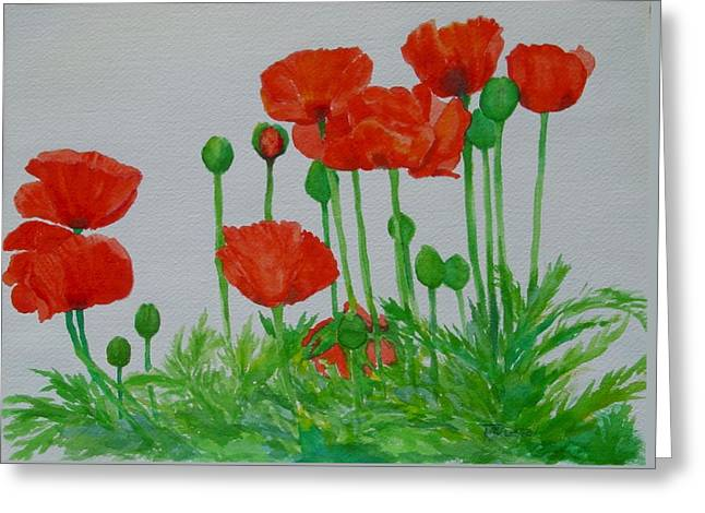 Red Poppies Colorful Flowers Original Art Painting Floral Garden Decor Artist K Joann Russell Greeting Card by Elizabeth Sawyer