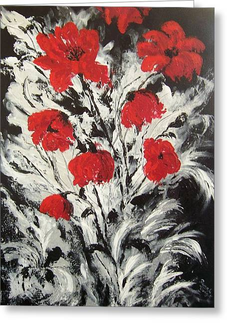 Bright Red Poppies Greeting Card