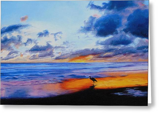 Bright Sunset On The Water Greeting Card by Sue Birkenshaw