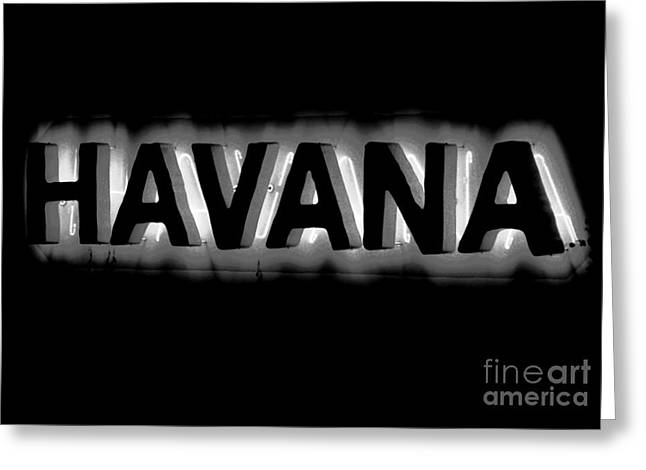 Bright Vibrant Neon Black And White Backlit Hotel Havana Sign Conte Crayon Digital Art  Greeting Card