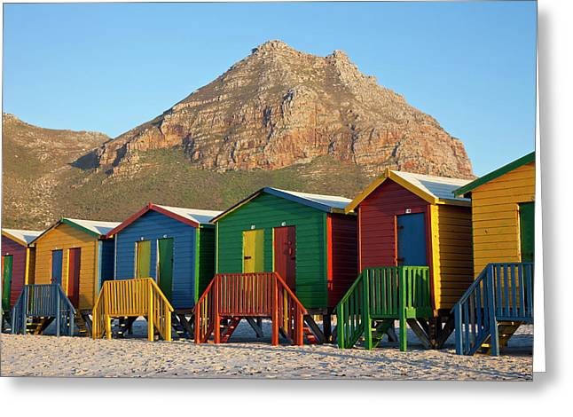 Brightly Colored Beach Huts At Sunrise Greeting Card by Jaynes Gallery