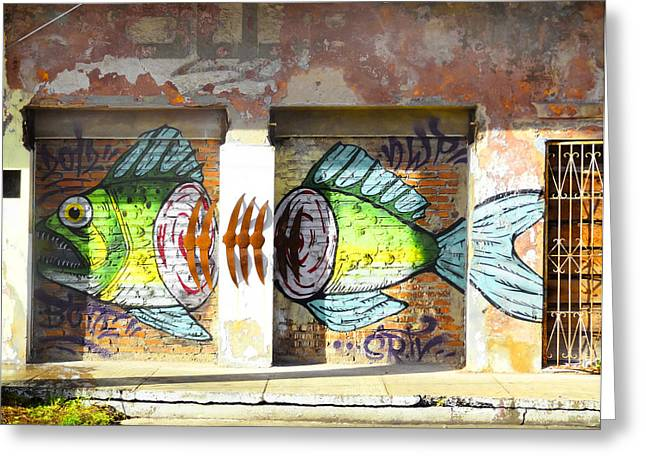 Brightly Colored Fish Mural Greeting Card