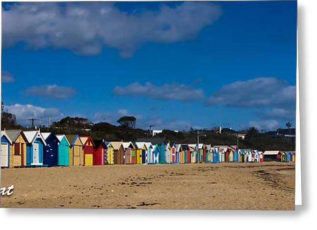 Brighton Bathing Box's Greeting Card by Alexander Whadcoat