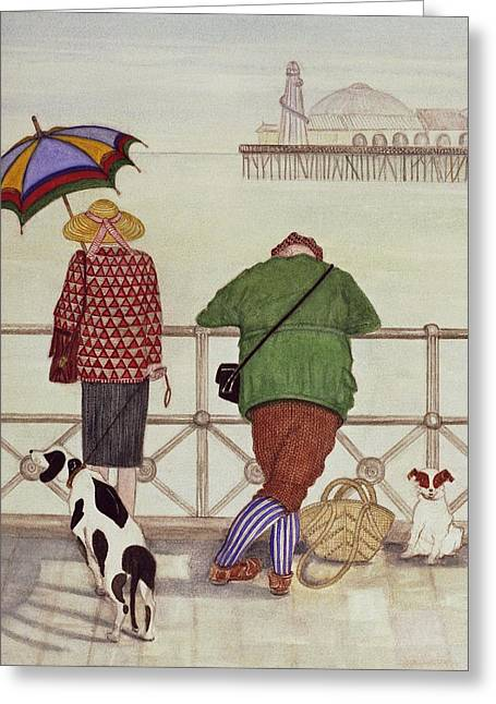 Brighton Pier, 1986 Watercolour On Paper Greeting Card by Gillian Lawson
