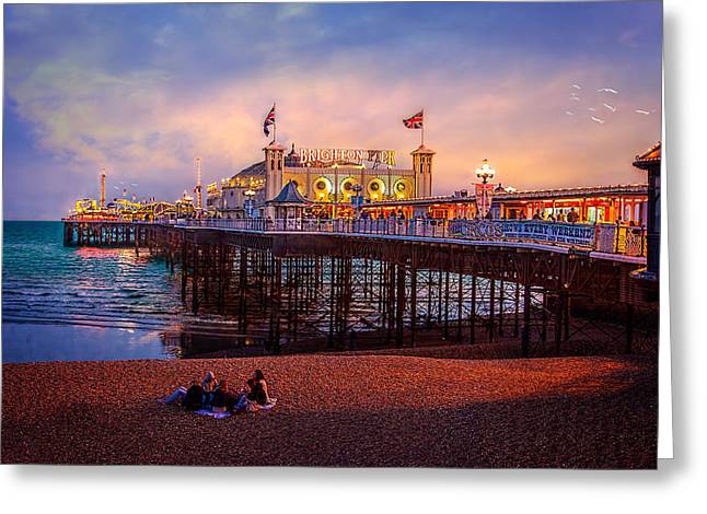 Greeting Card featuring the photograph Brighton's Palace Pier At Dusk by Chris Lord