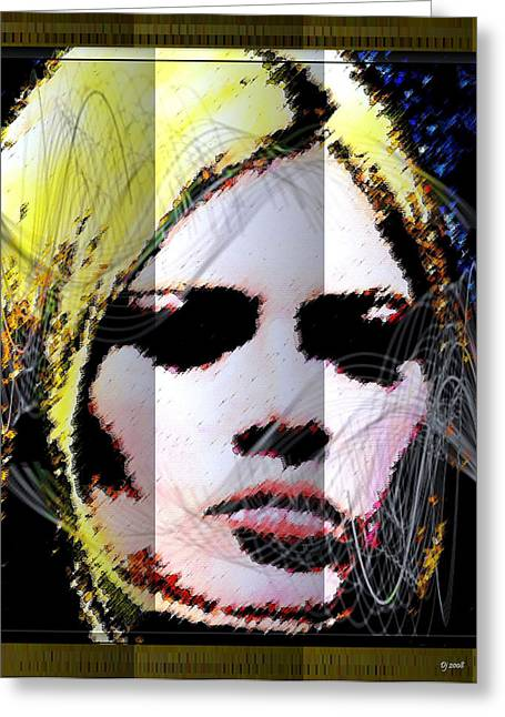 Greeting Card featuring the digital art Brigitte Bardot by Daniel Janda