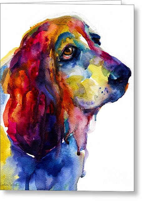Brilliant Basset Hound Watercolor Painting Greeting Card by Svetlana Novikova