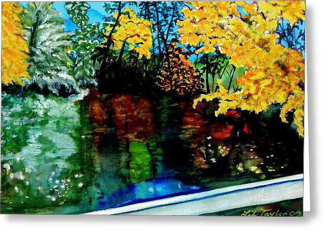 Greeting Card featuring the painting Brilliant Mountain Colors In Reflection by Lil Taylor