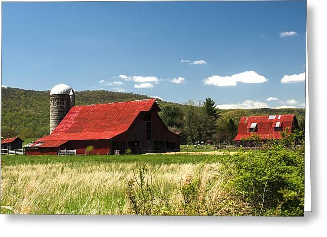 Brilliant Red Roofed Barn 1 Greeting Card by Douglas Barnett