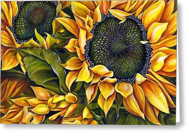 Brilliant Sunflowers Greeting Card by Debra Bucci