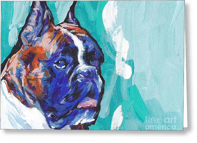 Brindle Boxer Baby Greeting Card by Lea S