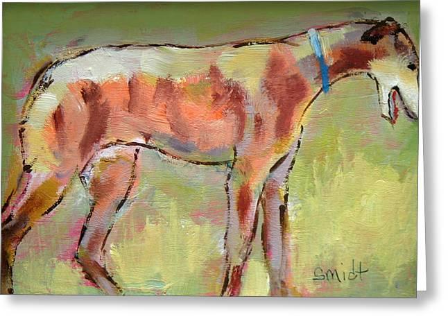 Brindle Greyhound Greeting Card by Carol Jo Smidt