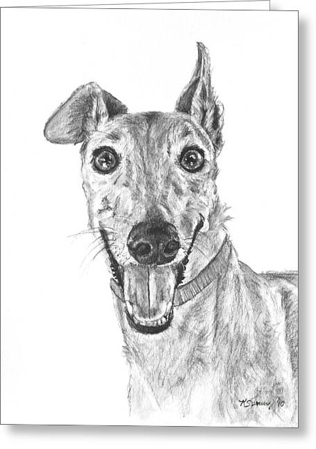 Brindle Greyhound Close Up Portrait Greeting Card