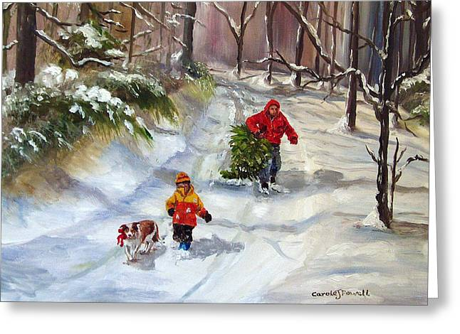Bringing Home The Christmas Tree Greeting Card by Carole Powell
