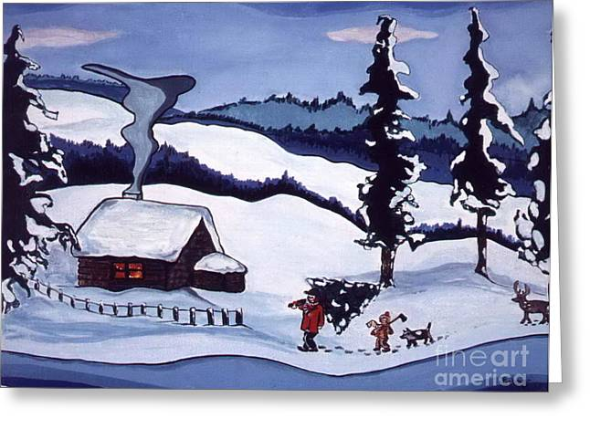 Greeting Card featuring the painting Bringing Home The Tree by Joyce Gebauer