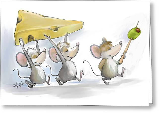 Bringing In The Cheese With Olives Greeting Card