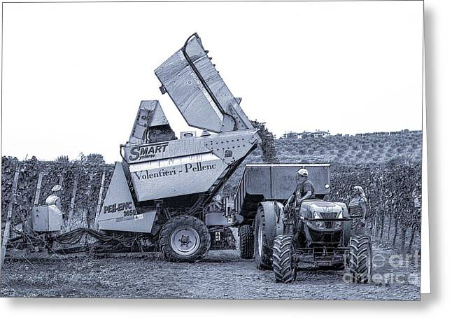 Bringing In The Grape Harvest Mechanically Greeting Card