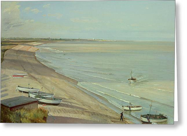 Bringing The Catch Ashore Greeting Card by Timothy Easton