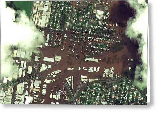 Brisbane Floods Greeting Card by Digital Globe