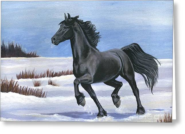 Greeting Card featuring the painting Brisk Trot by Sheri Gordon