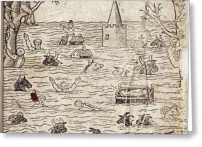 Bristol Channel Floods, 1607 Greeting Card by British Library