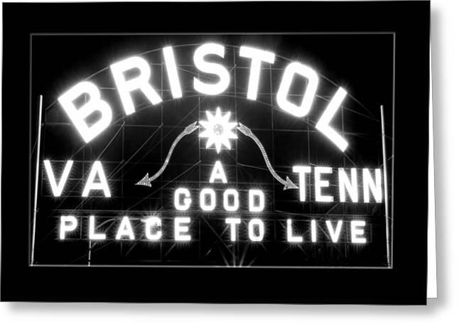 Bristol Virginia Tennesse Slogan Sign Greeting Card
