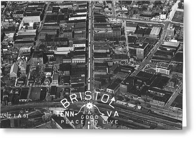 Bristol Virginia Tennessee Early Aerial Photo Greeting Card
